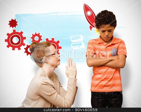 Composite image of teacher begging boy stock photo, Teacher begging boy against white background with vignette by Wavebreak Media