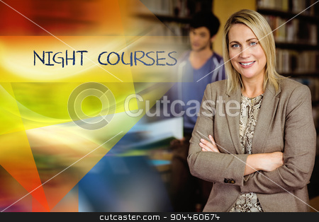Night courses against professor looking at camera with arms fold stock photo, The word night courses against professor looking at camera with arms folded  by Wavebreak Media