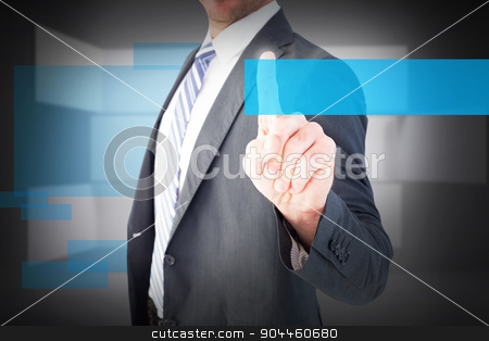 Composite image of businessman pointing with his finger stock photo, Businessman pointing with his finger against abstract room by Wavebreak Media