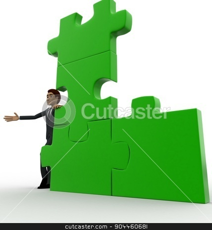 3d man with green puzzle concept stock photo, 3d man with green puzzle concept on white background, low  angle view by 3dlabs