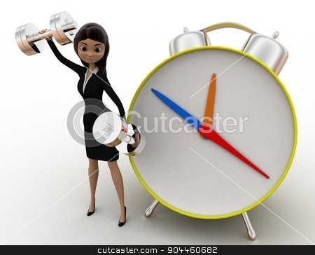 3d woman exercise time with clock and dumbell concept stock photo, 3d woman exercise time with clock and dumbell concept on white background, front angle view by 3dlabs