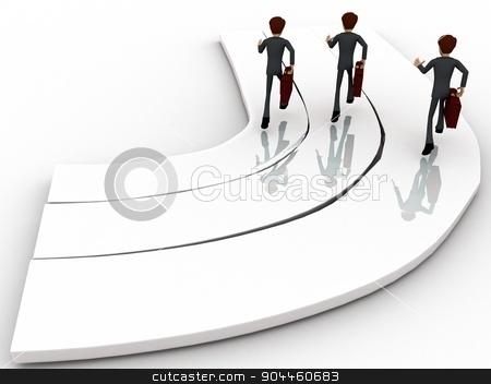 3d men on race track concept stock photo, 3d men on race track concept on white background, back angle view by 3dlabs