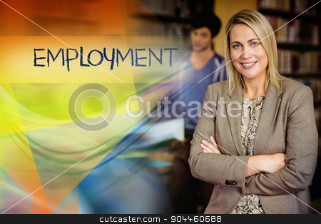 Employment against professor looking at camera with arms folded  stock photo, The word employment against professor looking at camera with arms folded  by Wavebreak Media