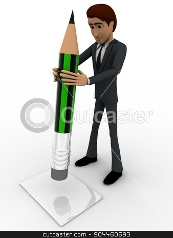 3d man holding green pencil concept stock photo, 3d man holding green pencil concept on white background,  side angle view by 3dlabs