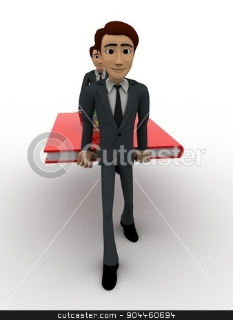 3d two men carry big book with small books concept stock photo, 3d two men carry big book with small books concept on white background, front angle view by 3dlabs