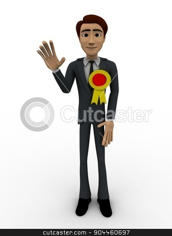 3d man with winner award ribbon concept stock photo, 3d man with winner award ribbon concept on white background, front angle view by 3dlabs
