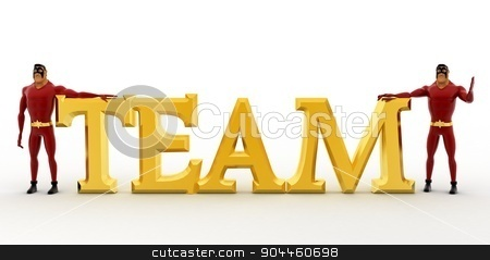3d superhero s with golden team text concept stock photo, 3d superhero s with golden team text concept on white background, front angle view by 3dlabs