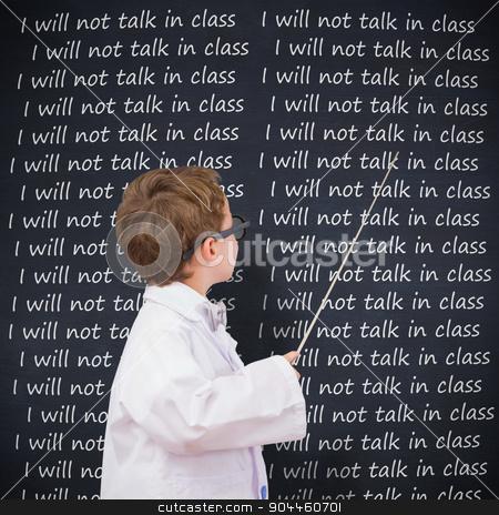 Composite image of cute pupil in lab coat stock photo, Cute pupil in lab coat against blackboard by Wavebreak Media