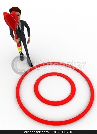 3d man holding dart in hand concept stock photo, 3d man holding dart in hand concept on white background,  top  angle view by 3dlabs