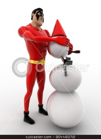 3d superhero  making snow man with snow concept stock photo, 3d superhero  making snow man with snow concept on white background, side angle view by 3dlabs