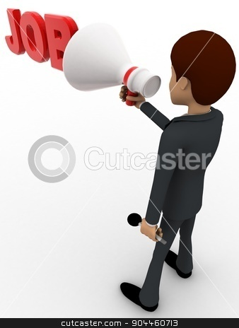 3d man advertise job using speaker concept stock photo, 3d man advertise job using speaker concept on white background, back angle view by 3dlabs