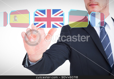 Composite image of focused businessman pointing with his finger stock photo, Focused businessman pointing with his finger against interface by Wavebreak Media