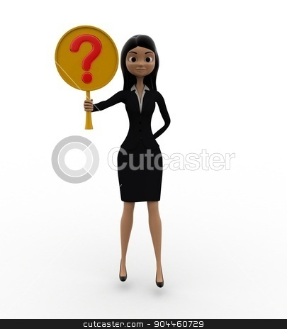 3d woman holding question mark symbol concept stock photo, 3d woman holding question mark symbol concept on white background, front angle view by 3dlabs