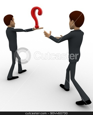 3d man show question mark concept stock photo, 3d man show question mark concept on white background,  side angle view by 3dlabs