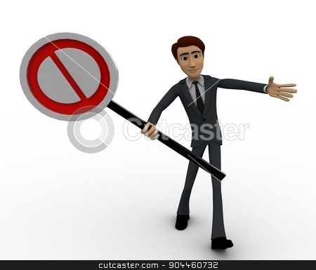 3d man holding no entry symbol concept stock photo, 3d man holding no entry symbol concept on white background, front angle view by 3dlabs