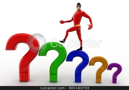 3d superhero  with stairs of question marks concept stock photo, 3d superhero  with stairs of question marks concept on white background, front angle view by 3dlabs