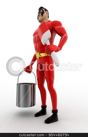 3d superhero  with paint bucket and brush concept stock photo, 3d superhero  with paint bucket and brush concept on white background, side angle view by 3dlabs