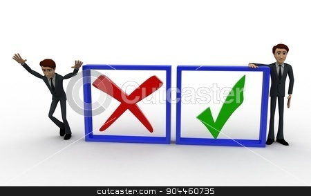 3d man with check and uncheck sign concept stock photo, 3d man with check and uncheck sign concept on white background, front angle view by 3dlabs