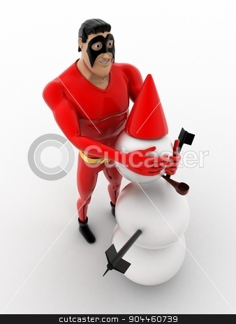 3d superhero  making snow man with snow concept stock photo, 3d superhero  making snow man with snow concept on white background, top angle view by 3dlabs