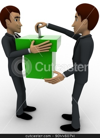 3d man voting concept stock photo, 3d man voting concept on white background, front angle view by 3dlabs