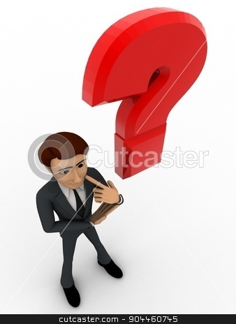 3d man with red question mark concept stock photo, 3d man with red question mark concept on white background, top angle view by 3dlabs
