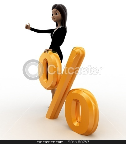 3d woman with golden percent symbol concept stock photo, 3d woman with golden percent symbol concept on white background, side angle view by 3dlabs