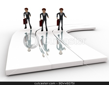 3d men on race track concept stock photo, 3d men on race track concept on white background, front angle view by 3dlabs