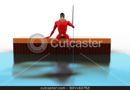 3d superhero  fishing with fishing rod concept stock photo, 3d superhero  fishing with fishing rod concept on white background, front angle view by 3dlabs