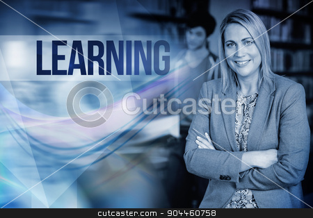 Learning against professor looking at camera with arms folded  stock photo, The word learning against professor looking at camera with arms folded  by Wavebreak Media
