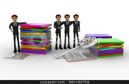 3d man with books and magnifying glass concept stock photo, 3d man with books and magnifying glass concept on white background, front angle view by 3dlabs