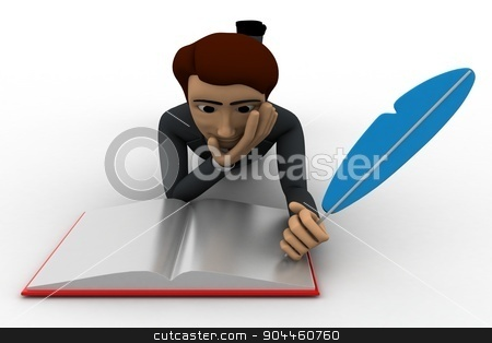 3d man wrute in book with feather concept stock photo, 3d man wrute in book with feather concept on white background, front angle view by 3dlabs