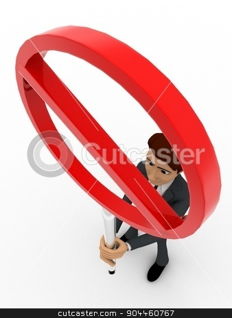 3d man holding stop sign board concept stock photo, 3d man holding stop sign board concept on white background,  top angle view by 3dlabs