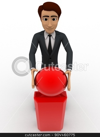 3d man with exclamation mark concept stock photo, 3d man with exclamation mark concept on white background,  front angle view by 3dlabs