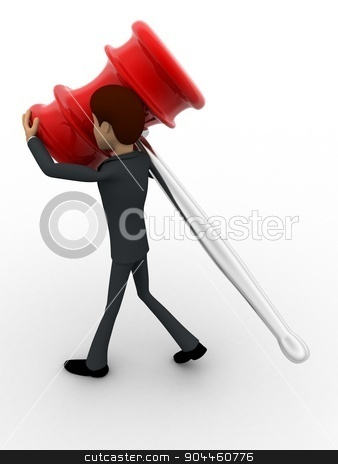 3d man carry big hammer concept stock photo, 3d man carry big hammer concept on white background, side  angle view by 3dlabs