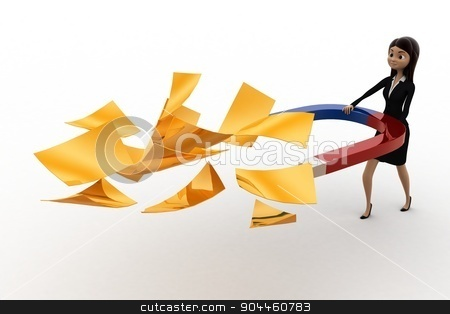 3d woman attract golden paper with magnet concept stock photo, 3d woman attract golden paper with magnet concept on white background, side angle view by 3dlabs