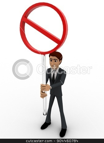 3d man holding stop sign board concept stock photo, 3d man holding stop sign board concept on white background,  front  angle view by 3dlabs