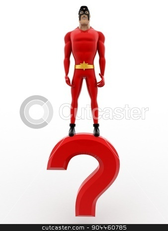 3d superhero standing on question mark concept stock photo, 3d superhero standing on question mark concept on white background, front angle view by 3dlabs