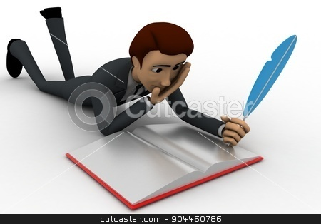 3d man wrute in book with feather concept stock photo, 3d man wrute in book with feather concept on white background,side angle view by 3dlabs