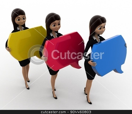 3d woman holding chat bubble in hand concept stock photo, 3d woman holding chat bubble in hand concept on white background, front angle view by 3dlabs