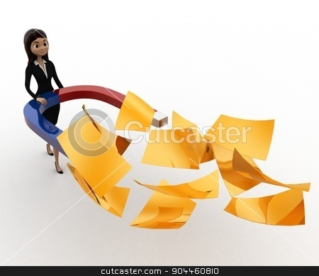 3d woman attract golden paper with magnet concept stock photo, 3d woman attract golden paper with magnet concept on white background, front angle view by 3dlabs