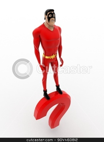 3d superhero standing on question mark concept stock photo, 3d superhero standing on question mark concept on white background, top angle view by 3dlabs