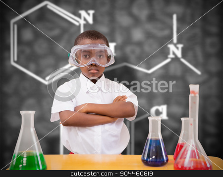 Composite image of pupil conducting science experiment stock photo, Pupil conducting science experiment against black background by Wavebreak Media