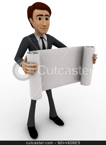 3d man holding paper scroll concept stock photo, 3d man holding paper scroll concept on white background, side angle view by 3dlabs