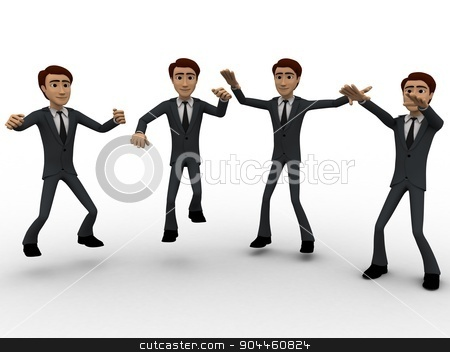 3d men dance concept stock photo, 3d men dance concept on white background, front angle view by 3dlabs