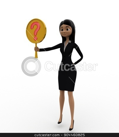 3d woman holding question mark symbol concept stock photo, 3d woman holding question mark symbol concept on white background, side angle view by 3dlabs