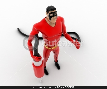 3d superhero  with plug pin concept stock photo, 3d superhero  with plug pin concept on white background,  top  angle view by 3dlabs