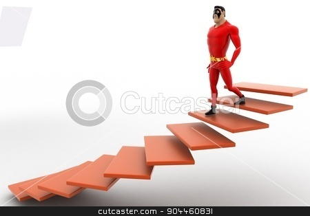 3d superhero  going down from stairs concept stock photo, 3d superhero  going down from stairs concept on white background, side angle view by 3dlabs