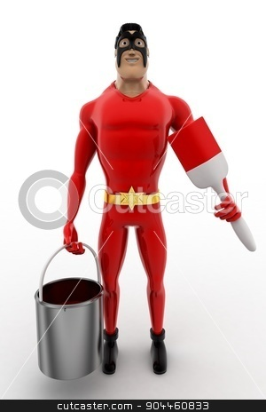 3d superhero  with paint bucket and brush concept stock photo, 3d superhero  with paint bucket and brush concept on white background, front angle view by 3dlabs
