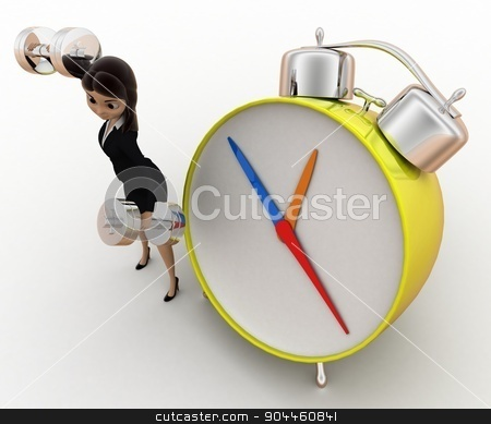3d woman exercise time with clock and dumbell concept stock photo, 3d woman exercise time with clock and dumbell concept on white background, top angle view by 3dlabs