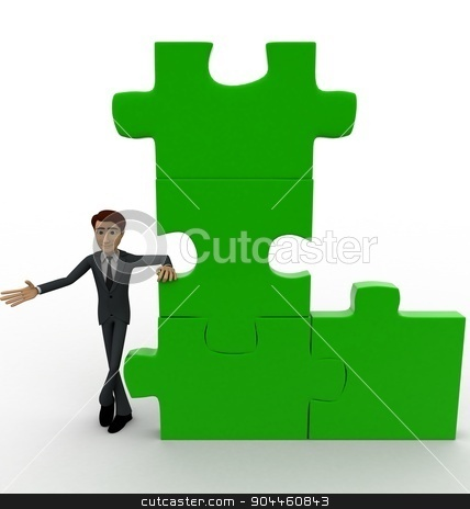 3d man with green puzzle concept stock photo, 3d man with green puzzle concept on white background, front angle view by 3dlabs